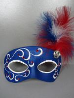 Red, white and blue masquerade mask by maskedzone