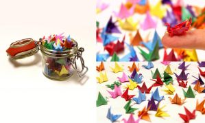 Colourful Paper Cranes by Amidasu