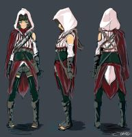 Assassin costume design draft by Psycuror