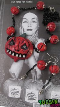 Halloween Pumpkin Necklace and earrings by TocsinDesigns