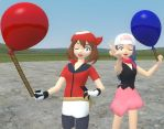 May x Dawn Holding balloons (Gmod) by BittyHeart