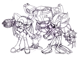Shadow Rouge Omega Team Dark by DarkHedgehog23