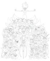 Sailor Moon Vs. Dark Kingdom - Lineart by Dark-elfa