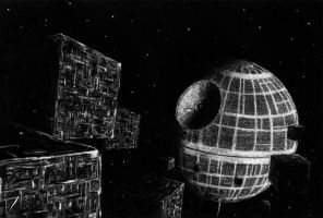 Borg Cubes at Deathstar by nickagneta