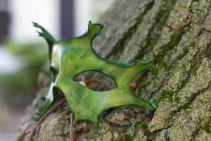 Green Oak Leaf Leather Mask by OsborneArts