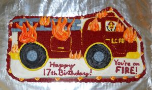 Ironic Fire Truck Cake by towelgirl21