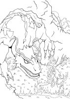 Dragon and Mage . WIP Outlines by Fessel