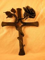 wrought iron cross  steel rose by AbeDoss