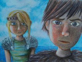 Hiccup and Astrid by vivsters
