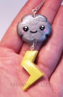 Kawaii silver cloud with lightning charm necklace by CharmsByIzzy