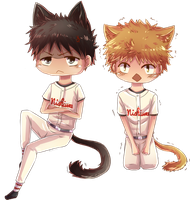 Takaya and Ren the cats by Rashirou