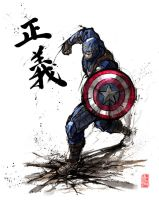Captain America with calligraphy by MyCKs