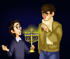 Amichai and Benjamin Hannukah Colored by Chrissyissypoo19