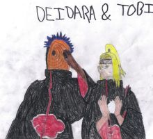Deidara and Tobi by wolfgirl-el
