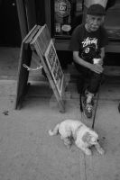 john and his dog having coffee by michael-dent