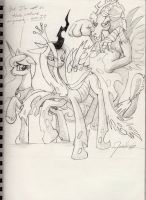 Chrysalis, Discord and Luna by Invalid-David