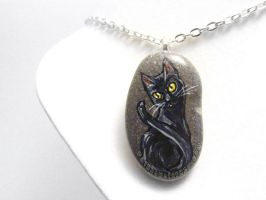 Black Cat Pendant Necklace by sobeyondthis