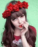 Red Flower Power Alternative Girl stock image by cherrybomb-81
