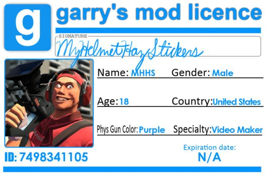 MyHelmetHazStickers' Garry's Mod Licence by myhelmethazstickers