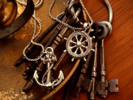 Anchor and Helm with Keys by AelisLaurel