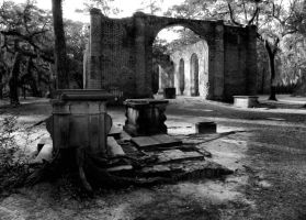 Old Sheldon Church 4 BW by MistressVampy