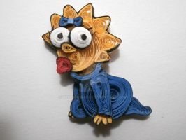 Paper Quilling - Maggie Simpson by wholedwarf
