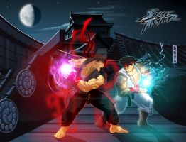 Ryu VS Dark Ryu by gyrfalcon65