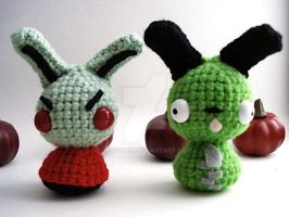 Invader Zim and Gir Moon Buns by MoonYen