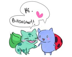 Catbug and Bulbasaur by JJZoleta
