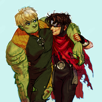 YA - wiccan and hulkling by weaselyperson