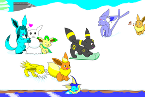 Eevee Family having fun by Luigirocks84