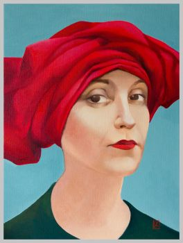 The portrait of a woman in a red turban by Ivan-Kovalevskiy