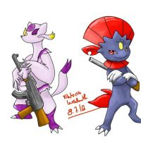 Weavile and Mienshao by ButlerVicki