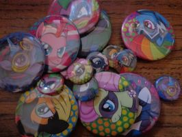 Power ponies button sets 1in and 2.25in by MermaidSoupButtons