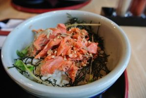 Grilled Salmon Rice Bowl by Shinseigo-Takashi