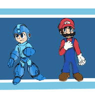Megaman and Mario by MOK-AXE