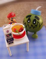 Nori X Bob-omb spicing up Mario's curry. by NoriToy