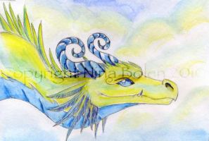 Air Dragon Watercolor by The-GoblinQueen