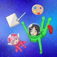 Adeleine and Ribbon in spacesuit -commission 05- by Nekomi4