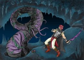 Cavern Fight_coloful by rainsingingdragon
