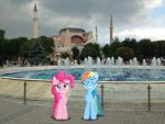 Pinkie Pie and Rainbow Dash at the Hagia Sofia by Uponia