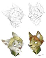 K and T Headshots - Sketch by spiritwolf77