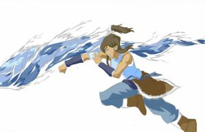 Korra Waterbending-colored by Fe-the-fictionista