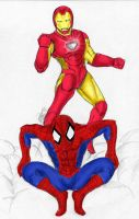 spidey and i-man colored by clashnorton