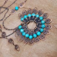 Peacock Tale Necklace - Copper by NeroliHandmade