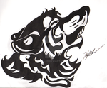 Howling Wolf Head Tribal Tattoo by CirylXD