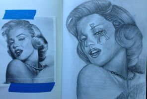 Marilyn Monroe Sketch by ASanchezDesigns