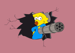 maggie simpson with machine gun by JackSGC