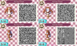 Animal Crossing NL: Survey Corps' Uniform QR Codes by etirz