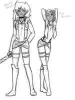 SNK AU-Elaina and Tiva by FrostedSouls